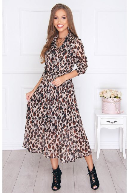 Sukienka modna maxi w panterkę beżowa