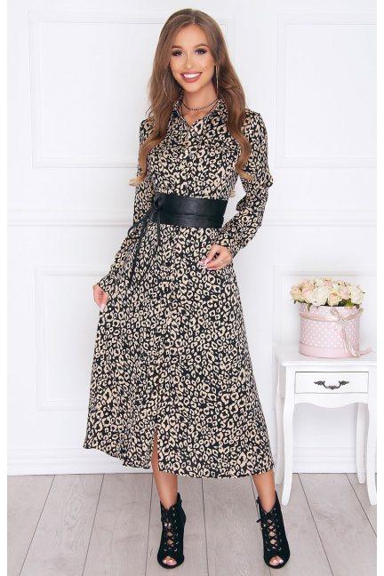 Sukienka elegancka długa wzór czarna