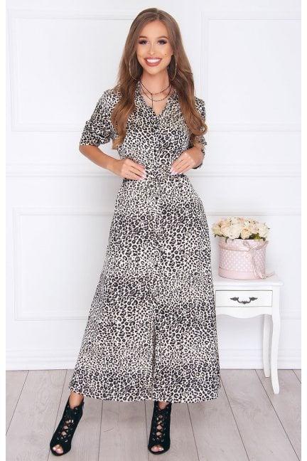 Sukienka damska długa z paskiem beżowa
