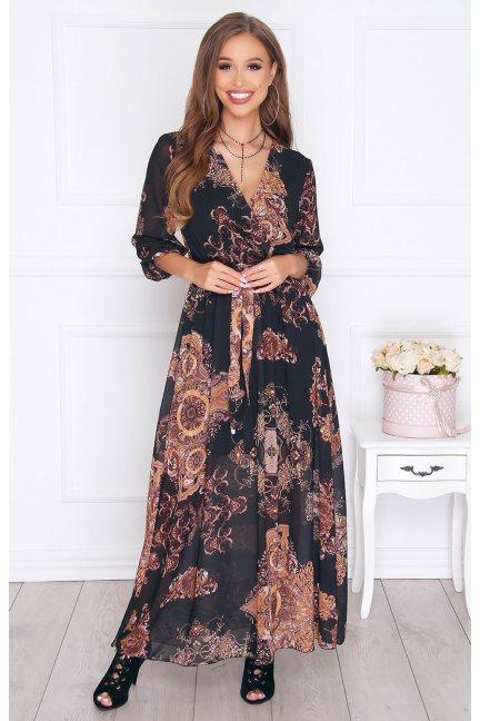 Sukienka elegancka maxi we wzór czarna