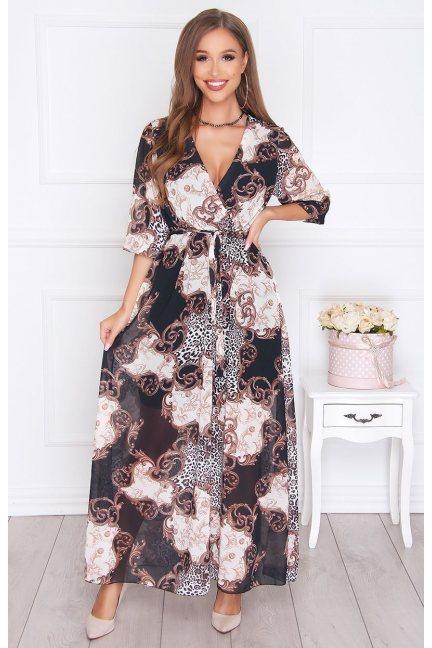 Sukienka elegancka długa we wzór czarna