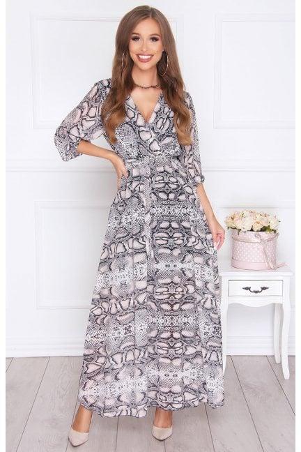 Sukienka elegancka maxi we wzór szara