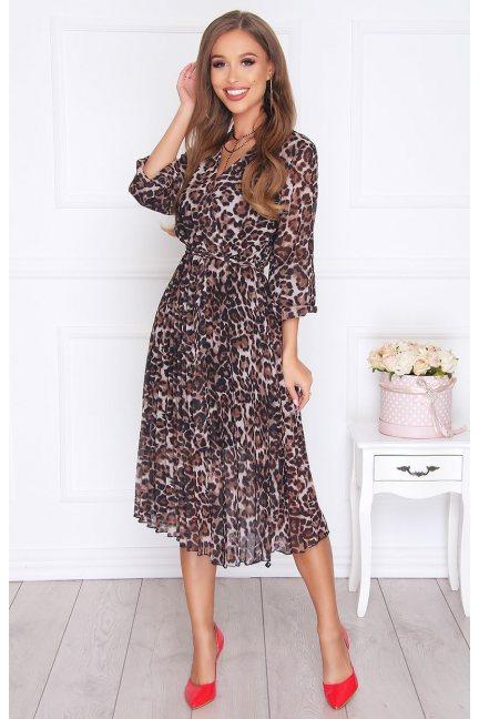 Sukienka elegancka plisowany dół brązowa