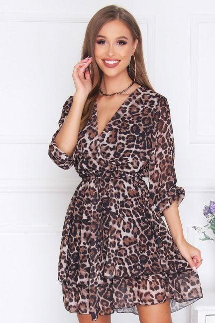 Sukienka szyfonowa mini dekolt brązowa
