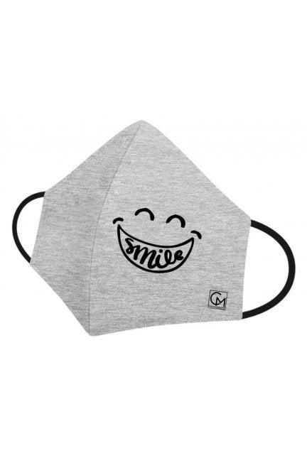 Maska profilowana nadruk SMILE szara
