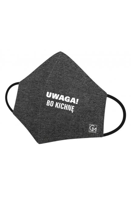 Maska profilowana nadruk UWAGA grafit