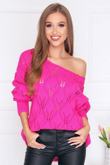 Sweter damski ciepły oversize fuksja