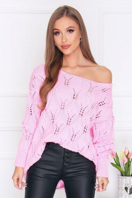 Sweter damski ciepły oversize różowy