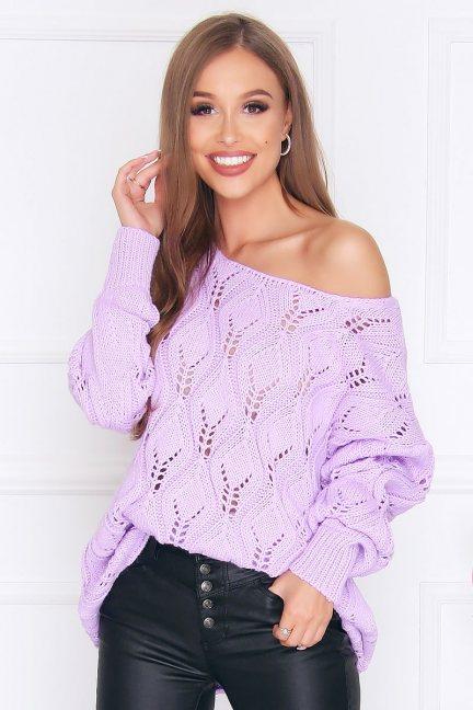 Sweter damski ciepły oversize fioletowy