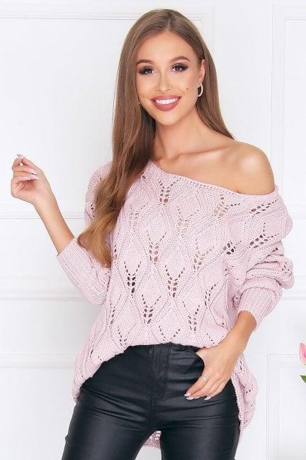 Sweter damski ciepły oversize pudrowy róż
