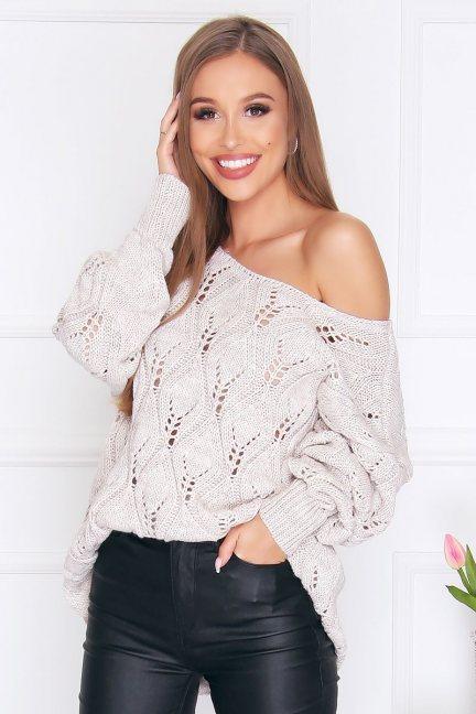 Sweter damski ciepły oversize beżowy
