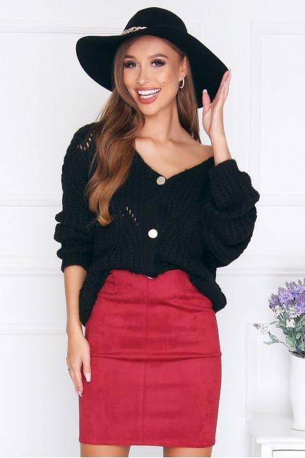 Sweter modny zapinany na guziki czarny