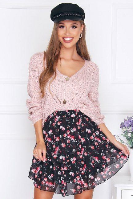Sweter modny zapinany na guziki pudrowy róż