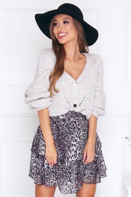 Sweter modny zapinany na guziki szary