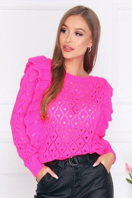 Sweter dopasowany z falbankami fuksja
