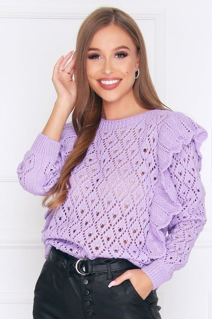 Sweter dopasowany z falbankami fioletowy