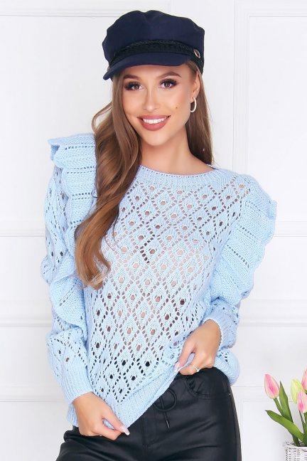 Sweter dopasowany z falbankami błękitny