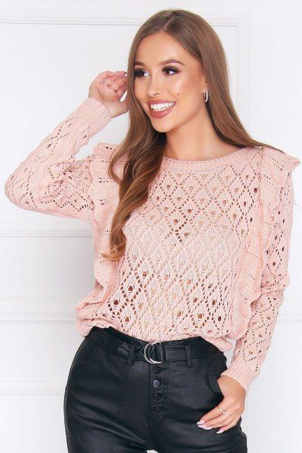 Sweter dopasowany z falbankami różowy