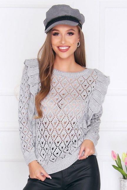 Sweter dopasowany z falbankami szary