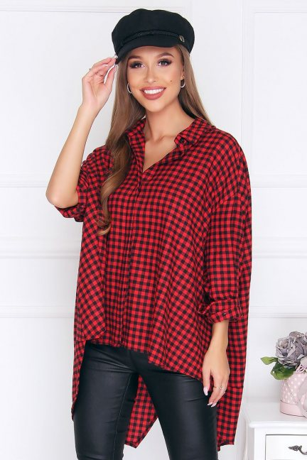 Koszula bawełniana w kratkę czerwona
