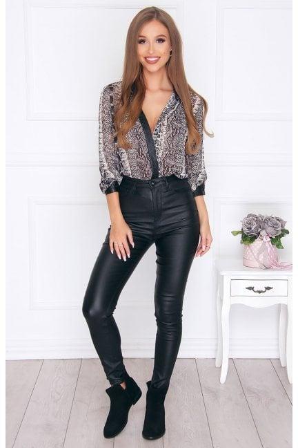 Spodnie dopasowane woskowane czarne