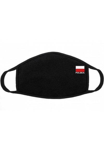 Maska bawełniana z flagą Polski czarna