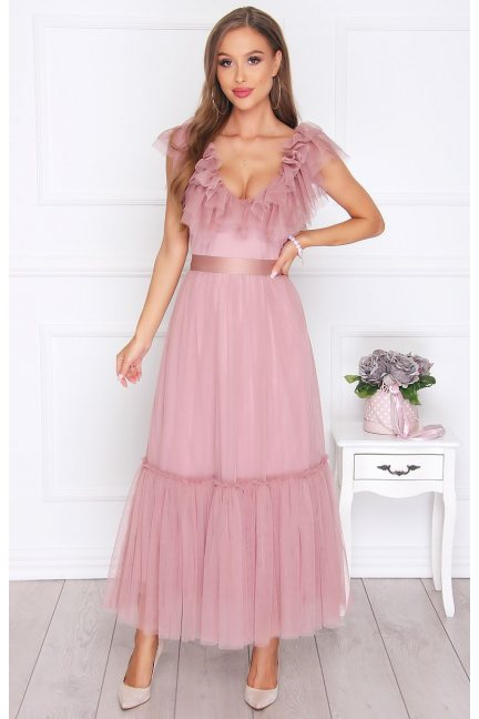 Sukienka elegancka szyfonowa brudny róż