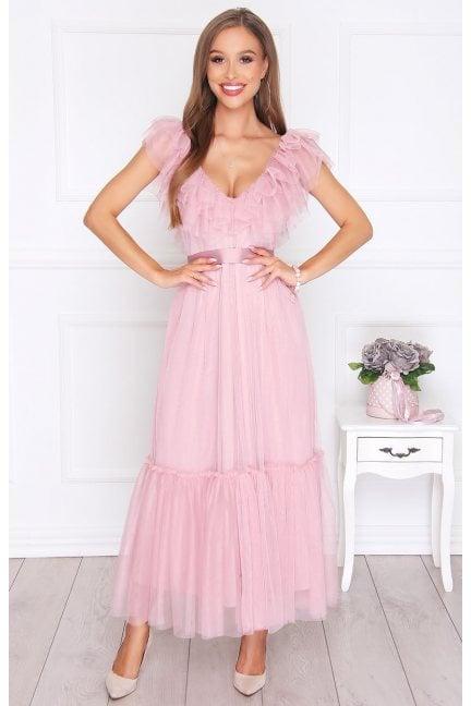 Sukienka elegancka szyfonowa różowa