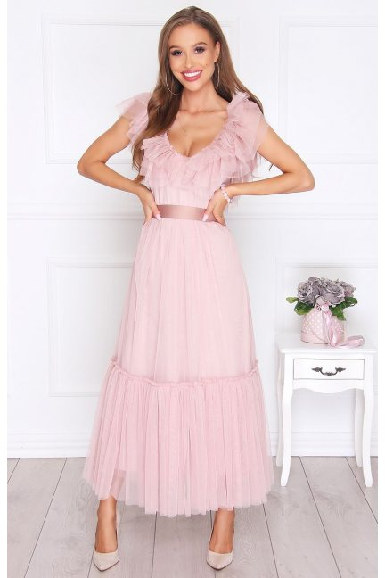 Sukienka elegancka szyfonowa pudrowy róż