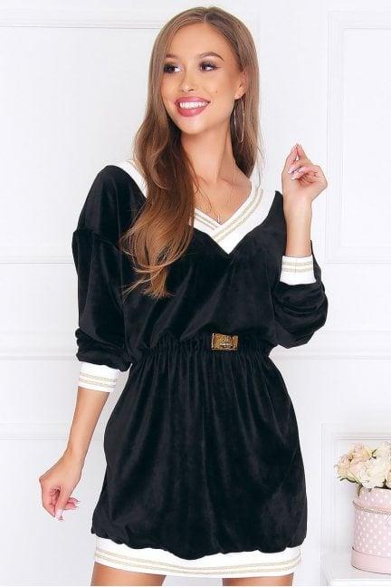Sukienka wizytowa mini welur czarna