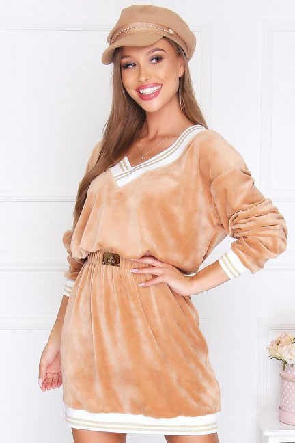 Sukienka wizytowa mini welur camel