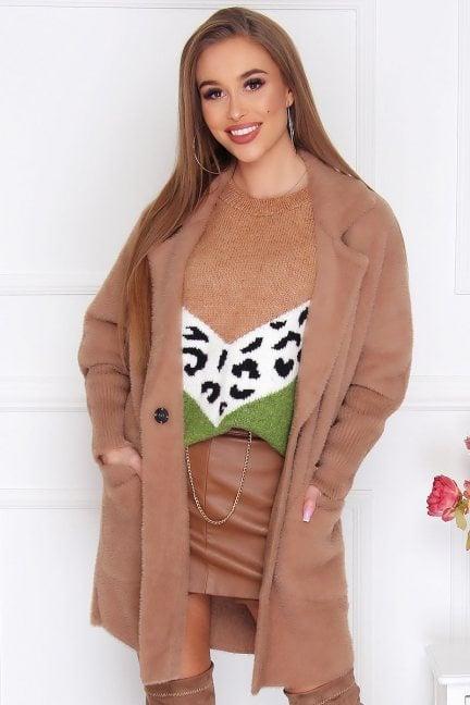 Płaszcz krótki kieszenie alpaka camel