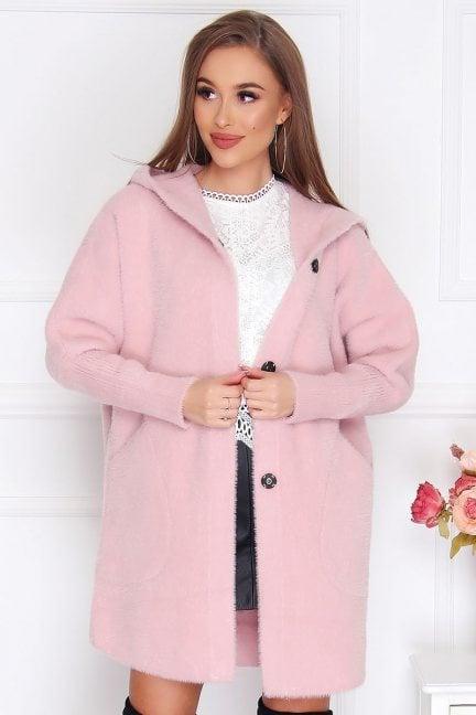 Płaszcz krótki alpaka z kapturem różowy