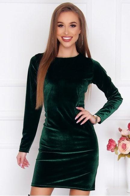 Sukienka dopasowana mini welur zielona