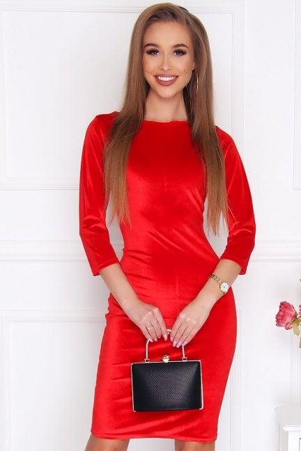 Sukienka ołówkowa z weluru czerwona