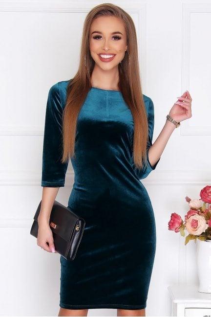 Sukienka ołówkowa z weluru zielona