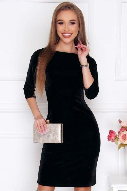 Sukienka dopasowana welurowa czarna