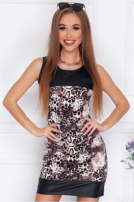 Sukienka mini Agnieszka panterka czarna