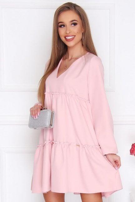 Sukienka damska trapezowa różowa
