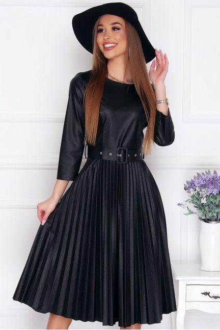 Sukienka elegancka skórzana midi czarna