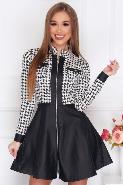 Sukienka damska mini wzór pepitka czarna