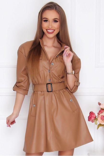Sukienka skórzana mini kieszenie camel
