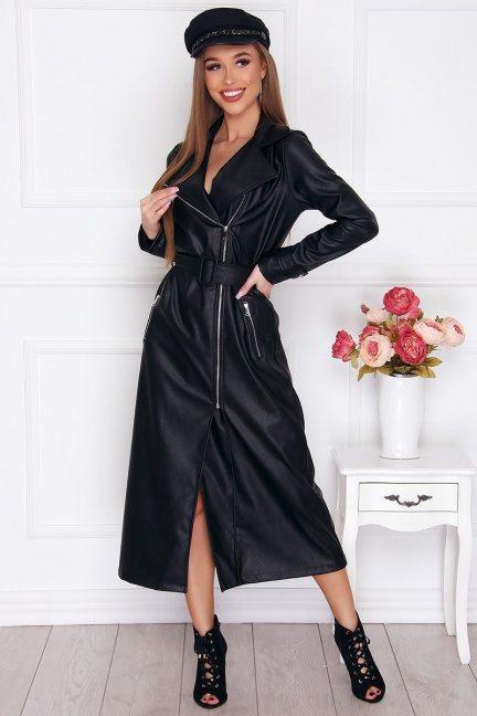 Sukienka wizytowa długa skórzana czarna