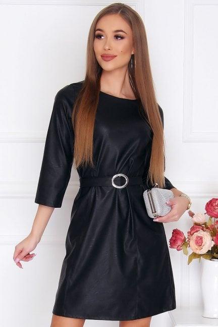 Sukienka modna mini z paskiem czarna