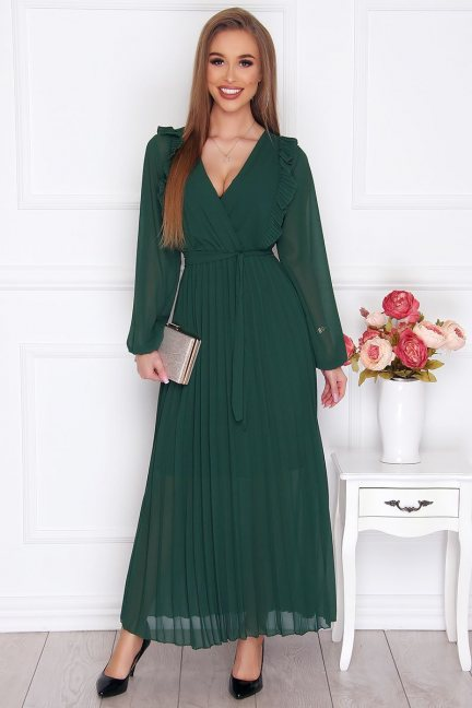 Sukienka damska maxi plisowana zielona