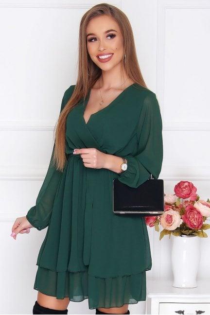 Sukienka wizytowa mini szyfon zielona