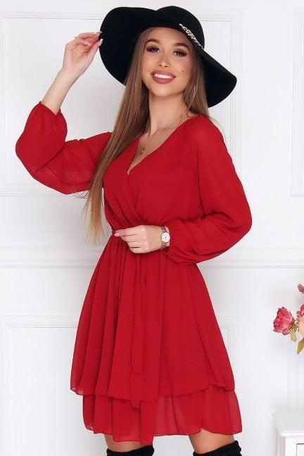 Sukienka wizytowa mini szyfon czerwona