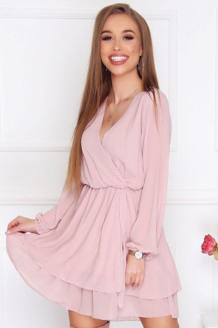 Sukienka wizytowa mini szyfon różowa