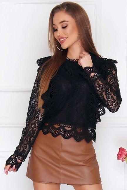 Bluzka damska modna z koronki czarna