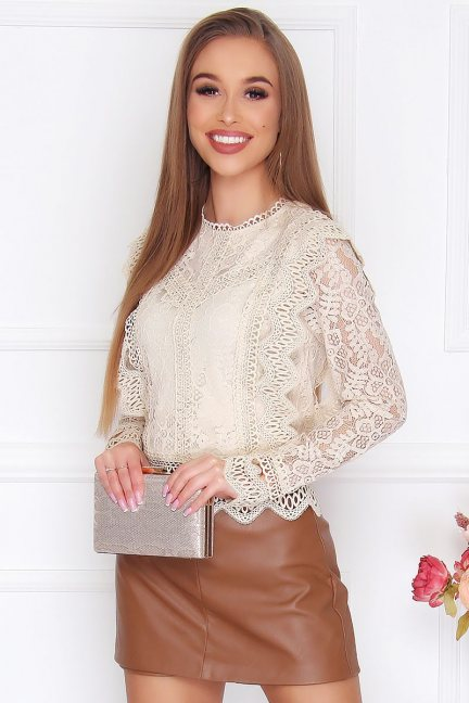Bluzka damska modna z koronki beżowa